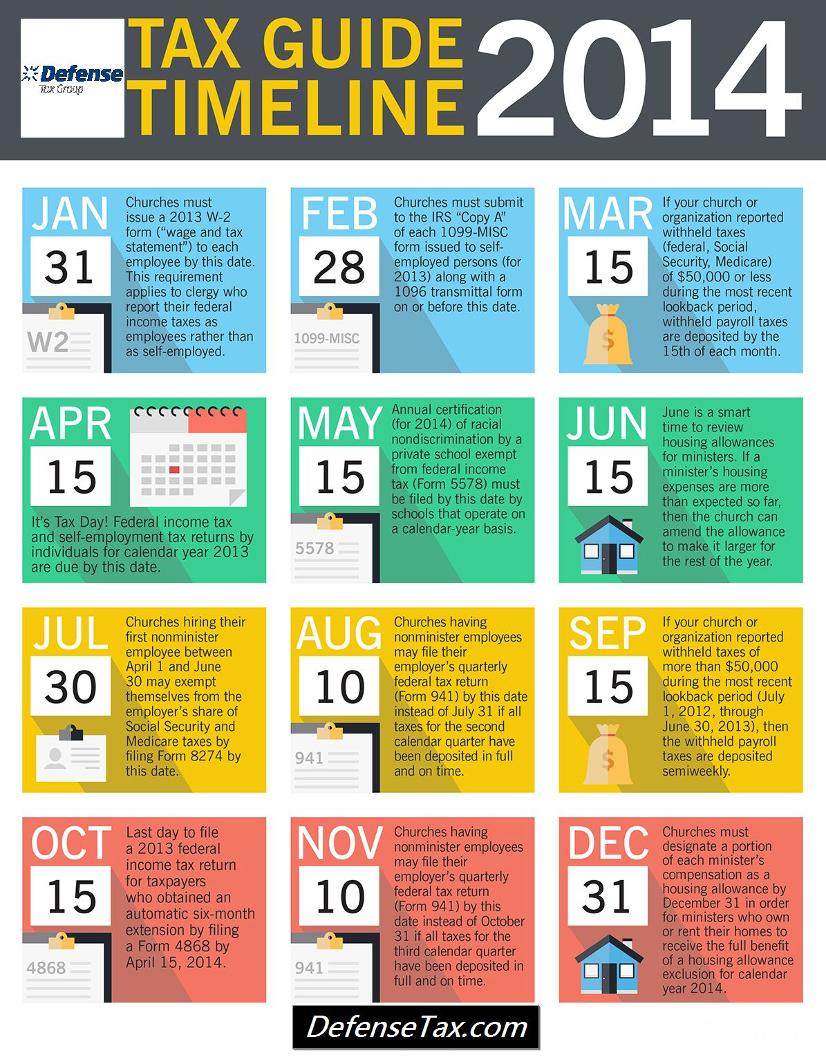Tax guide timeline 2014 infographic critical dates deadlines january 31 2014 falaconquin