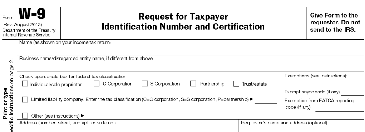 Form W-9 : Request for Taxpayer Identification Number and